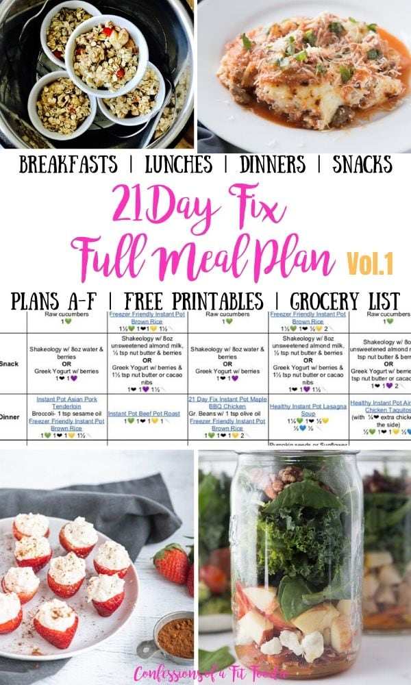 Photo Collage with text overlay 21 Day Fix Full Meal Plan with breakfast lunch dinner snacks and a full grocery list