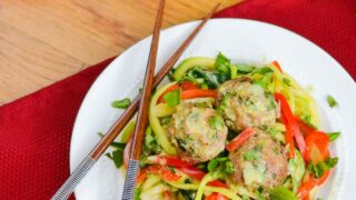 Basil Green Curry Zoodles with Asian Meatballs | The Foodie and the Fix