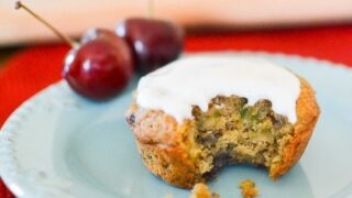 Cherry Zucchini Muffins with Secret Ingredient Frosting | The Foodie and the Fix