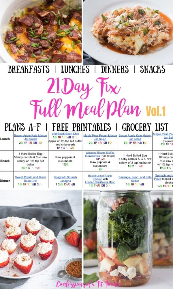 Food photo collage with black, pink, and yellow text overlay- Breakfasts | Lunches | Dinners | Snacks | 21 Day Fix Full Meal Plan Vol. 1 | Plans A-F | Free Printables | Grocery List | Confessions of a Fit Foodie
