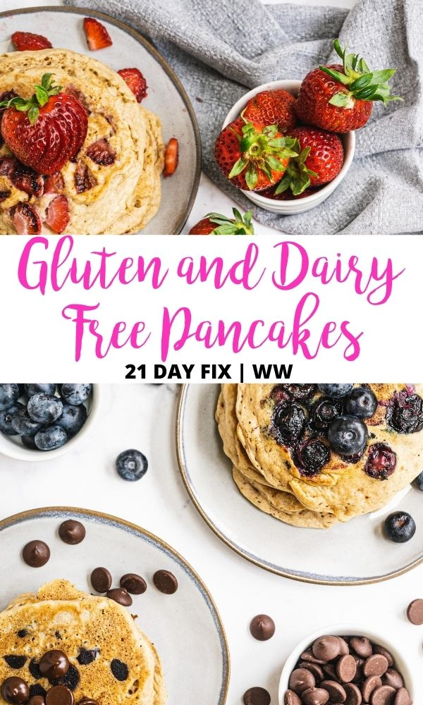 Pinterest image with text overlay for gluten and dairy free pancakes with strawberries, blueberries, and chocolate chips