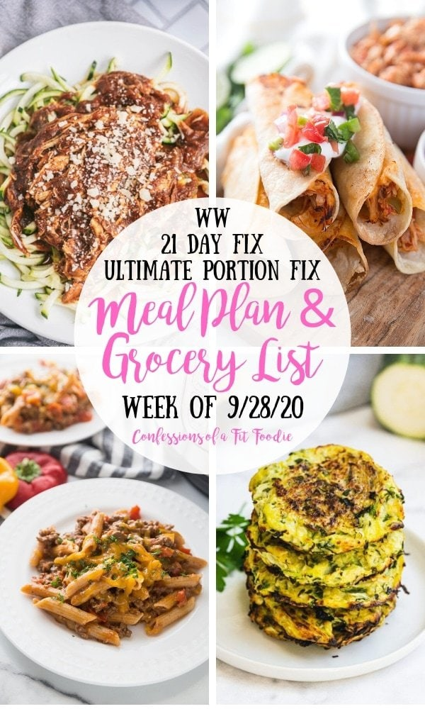 Food photo collage with pink and black text on a white circle. Text says WW | 21 Day Fix | Ultimate Portion Fix | Meal Plan & Grocery List | Week of 9/28/20 | Confessions of a Fit Foodie