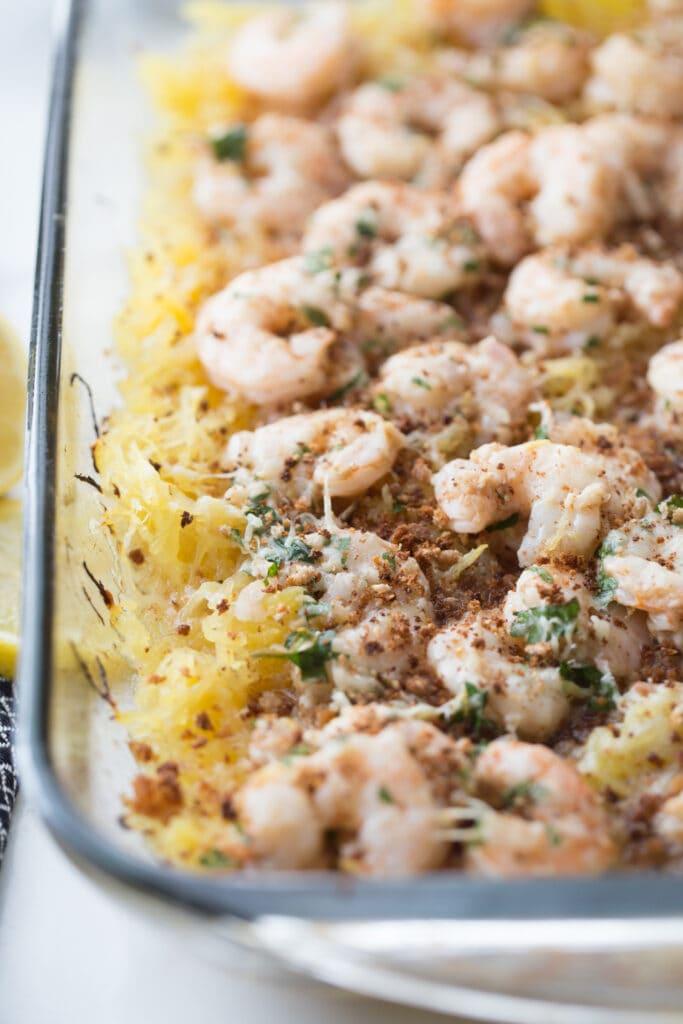 low carb spaghetti squash shrimp scampi in a casserole dish