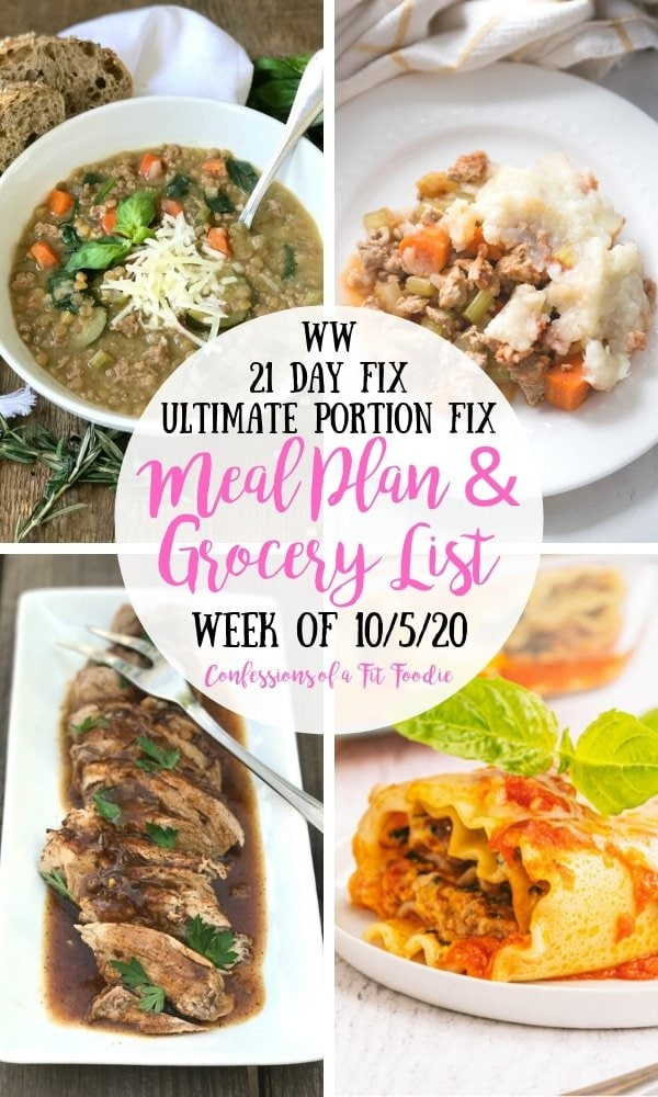 Food photo collage with black and pink text over a white circle. Text says WW | 21 Day Fix | Ultimate Portion Fix | Meal Plan & Grocery List | Week of 10/5/20 | Confessions of a Fit Foodie