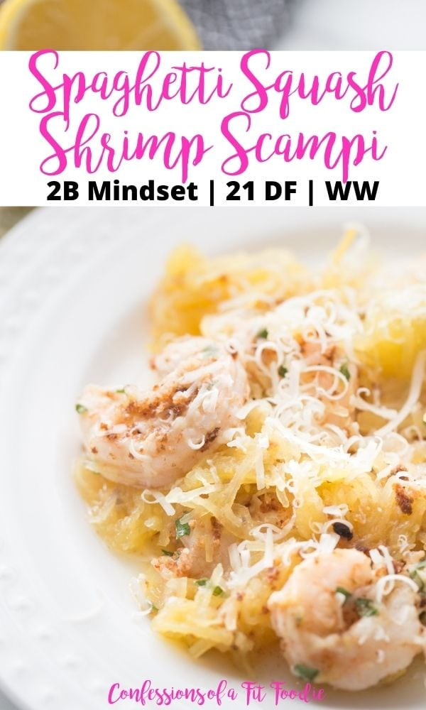 titled image (and shown): spaghetti squash shrimp scampi - Confessions of a Fit Foodie