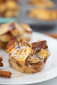 A close up shot shows the icing drizzled on the French toast muffin.