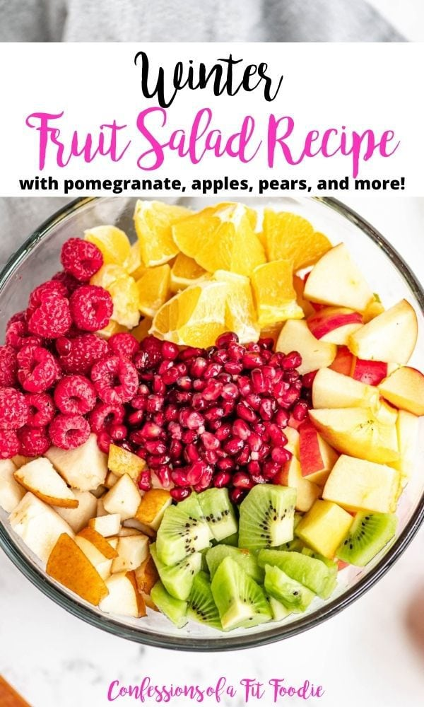 The title card for winter fruit salad shows the evenly diced fruits in a large glass bowl.
