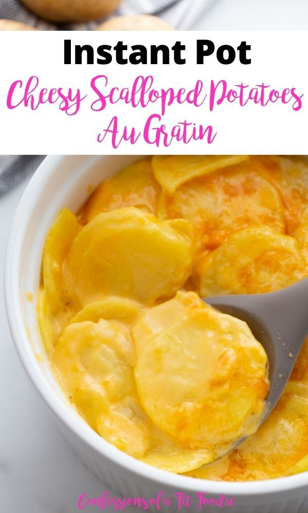 Pinterest image of a large gray serving spoon dips into a white bowl os scalloped potatoes au gratin.