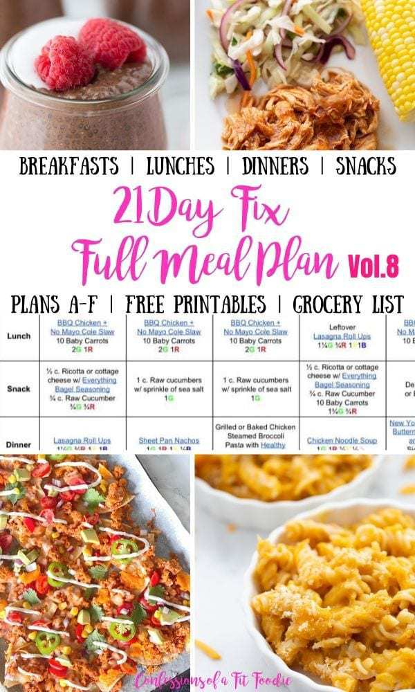 Food photo collage with black and pink text on a white rectangle. Text says, 21 Day Fix Full Meal Plan Vol. 8 | Confessions of a Fit Foodie