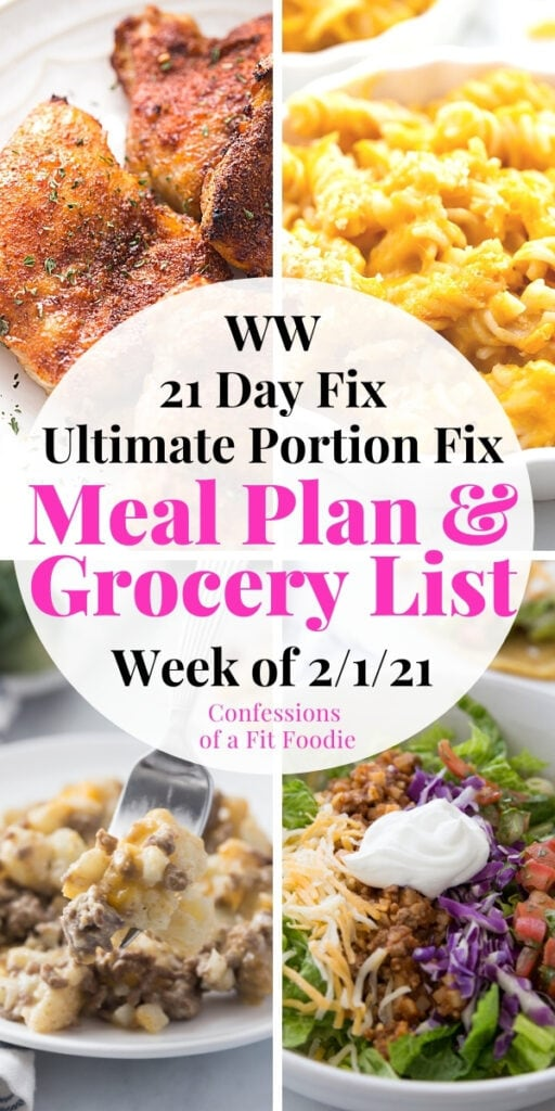 Food photo collage with text overlay - 21 Day Fix Meal Plan & Grocery List   Week of 2/1/21
