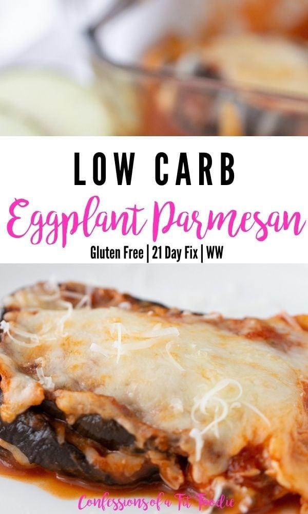 Pinterest image of Low Carb Eggplant Parmesan