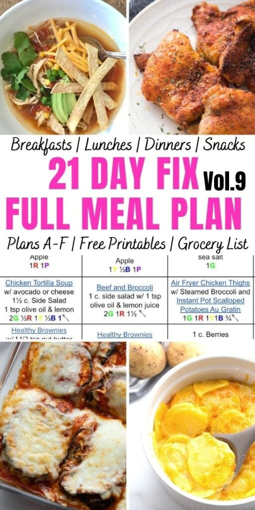 Food photo collage with pink and black text. Text says, 21 Day Fix Full Meal Plan Vol. 9 | Plans A-F | Free Printables | Grocery List