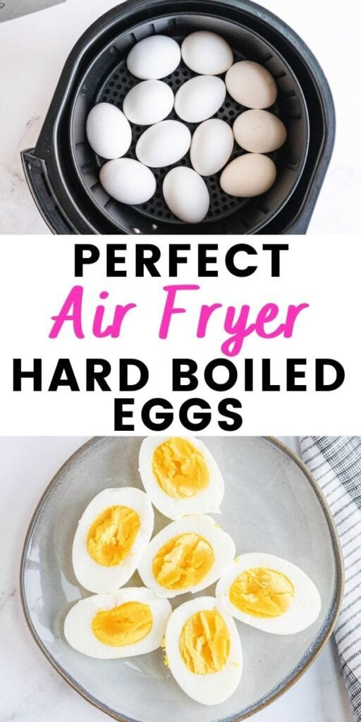 Photo Collage with text overlay Perfect Air Fryer Hard Boiled Eggs