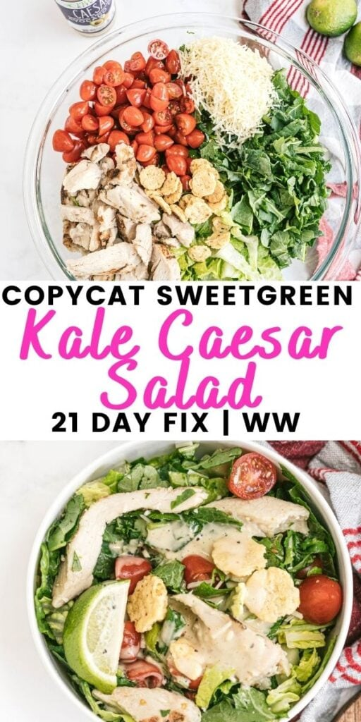 Two photo collage with pink and black text on a white rectangle. Text says, Copycat SweetGreen Kale Caesar Salad | 21 Day Fix | WW
