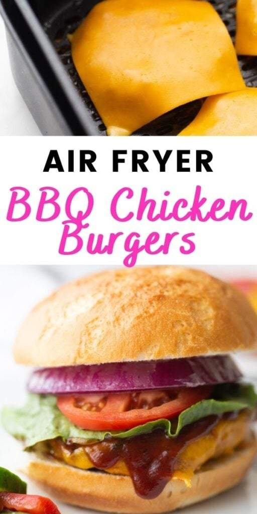 Photo Collage with text overlay Air Fryer BBQ Chicken Burgers