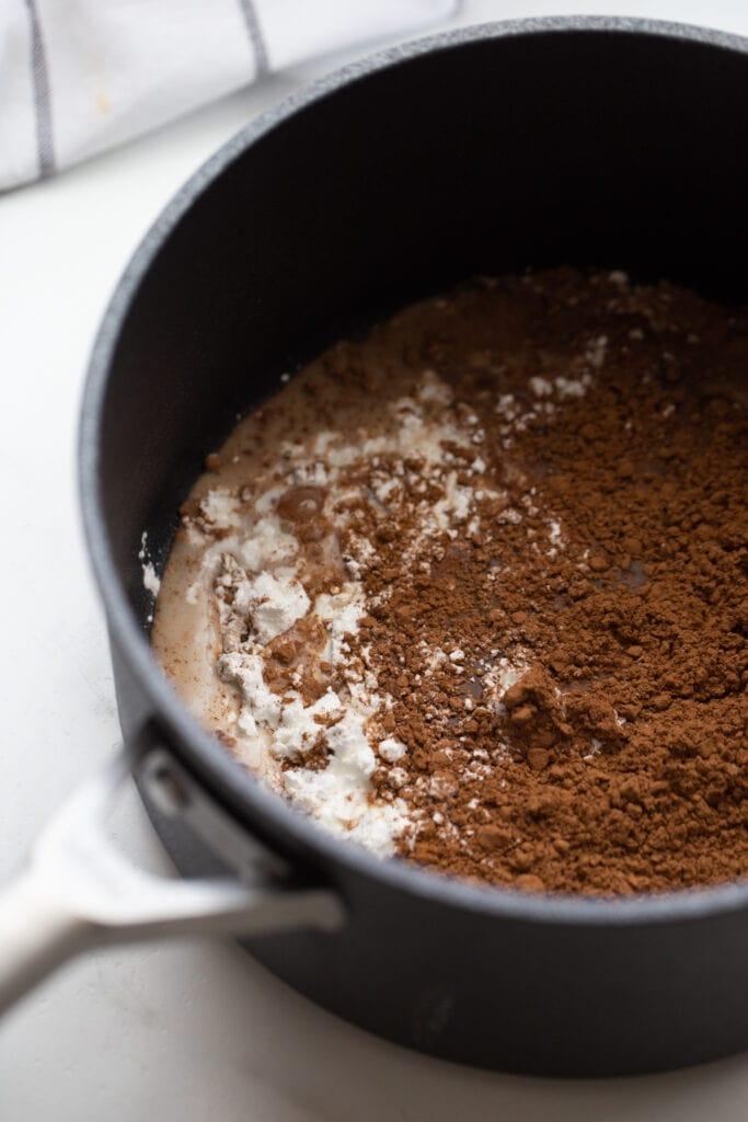Cocoa powder, cornstarch, and milk in a saucepan for vegan chocolate pudding