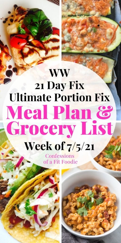 Food photo collage with pink and black text on a white circle. Text says, Meal Plan & Grocery List | Week of 7/5/21