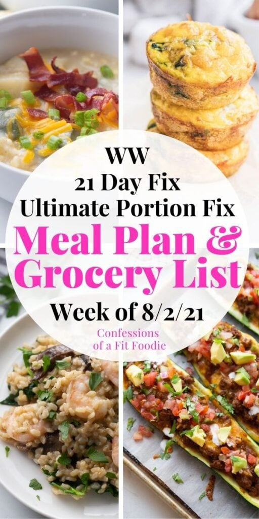 Food photo collage with pink and black text on a white background. Text says, Meal Plan & Grocery List | Week of 8/2/21