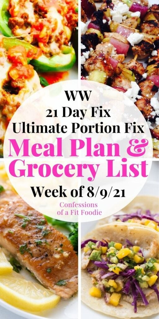 Food photo collage with pink and black text on a white circle. Text says, Meal Plan & Grocery List | Week of 8/9/21
