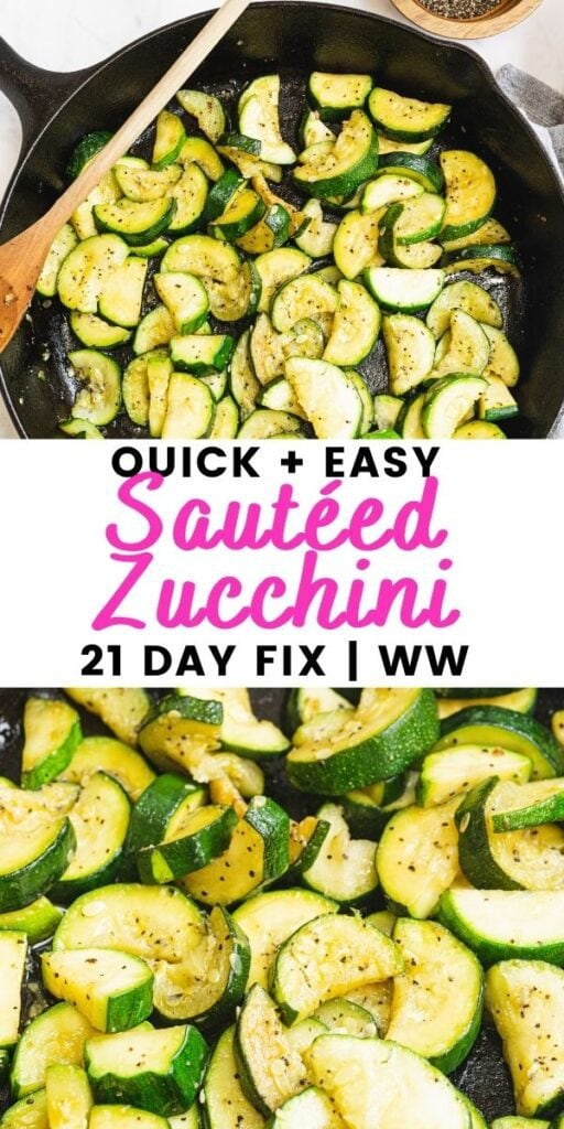 Pinterest image with text overlay for sauteed zucchini