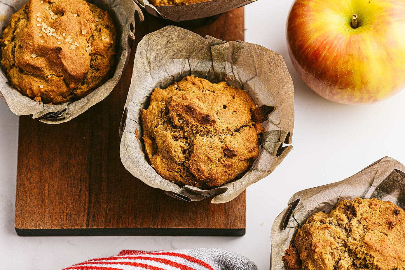 Close up overhead photo of Healthy Apple Muffins - ready to be eaten