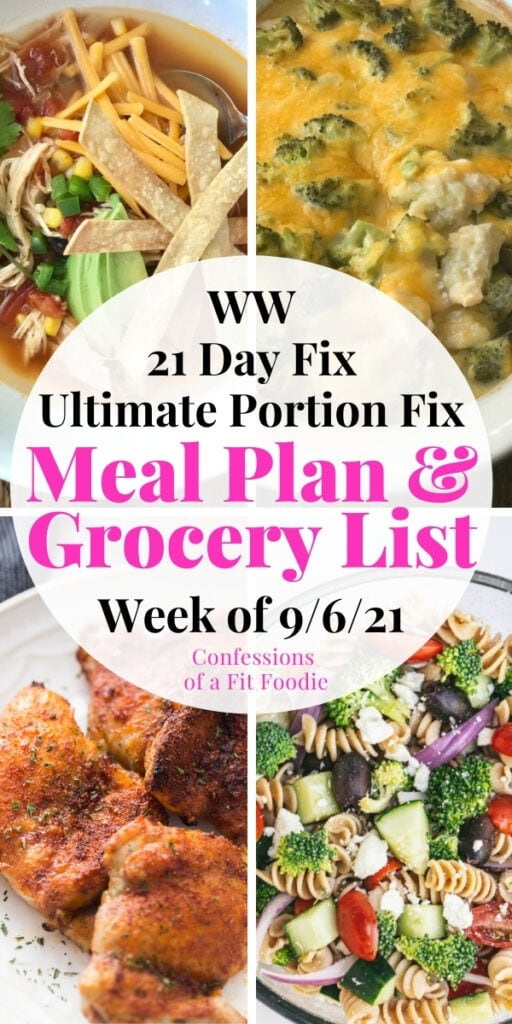 Food photo collage with pink and black text on a white circle - Meal Plan & Grocery List   Week of 9/6/21