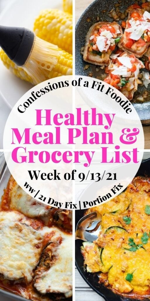 Pinterest image with text overlay Healthy Meal plan + Grocery List