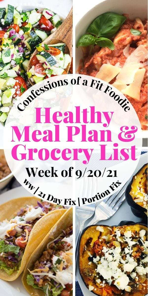 Food photo collage with pink and black text on a white circle - Healthy Meal Plan & Grocery List   Week of 9/20/21