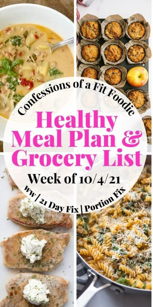 """Food photo collage with pink and black text on a white circle. Text says """"Healthy Meal Plan & Grocery List 