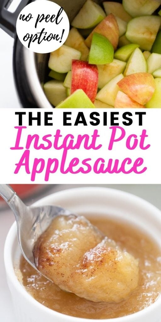 A pinterest image with text overlay - Instant Pot Applesauce