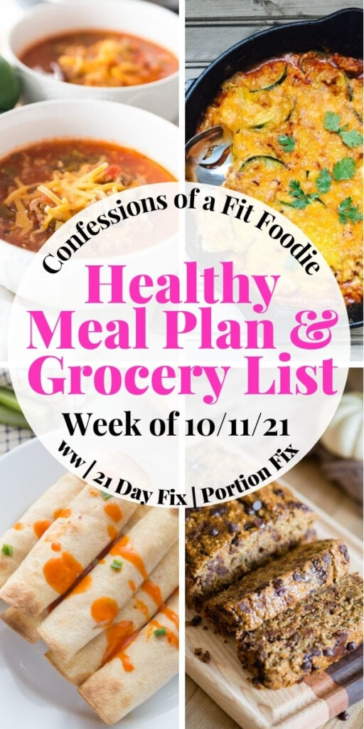 Food photo collage with black and pink text on a white circle - Healthy Meal Plan & Grocery List | Week of 10/11/21